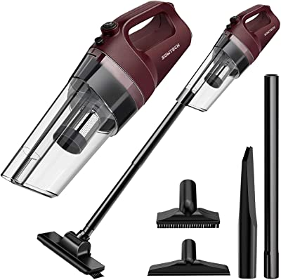 Cordless Vacuum SOWTECH 6 in 1 Cyclonic Suction Lightweight Handheld Vacuum Cleaner with Stainless Steel Filter (Bagless) Rechargeable Lithium Ion-Red