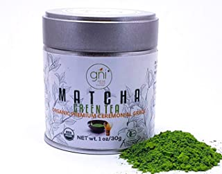 GNI Organic Matcha Green Tea Powder - Premium Ceremonial Grade - Jade Green Color, Froth Quickly with a Whisk, USDA & JAS Certified, First Harvest Directly from Uji, Kyoto, Japan – 30g (1oz) Tin