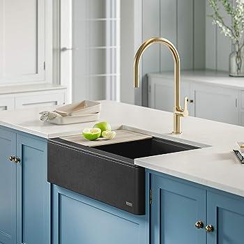 Kraus Kgf2 33mbl Bellucci Workstation Quartz Composite Single Bowl Farmhouse Kitchen Sink 33 Inch Metallic Black Amazon Com