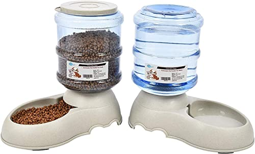 YGJT Comederos Automáticos de Alimentos/Fuente de Agua Automática para Perros Gatos y Mascotas- 2 Piezas- 3.75L Cuenc...