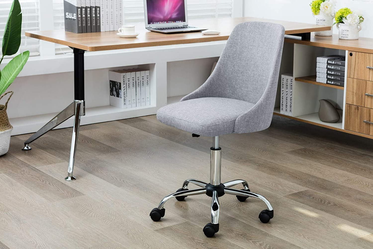 Porthos Home EFC023A Gry Roache Task Chair with Adjustable Height, 360° Swivel and 5-Claw Metal Base with Roller Caster Wheels (Hemp Fabric Upholstery, for Home and Office Uses), One Size, Grey