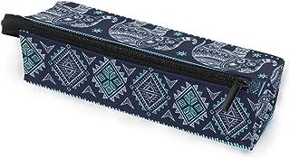 Toprint Ethnic Aztec Indian Elephant Glasses Bag Pouch Portable Travel Zipper Light Sunglasses Case Pencil Case Cosmetic Bag