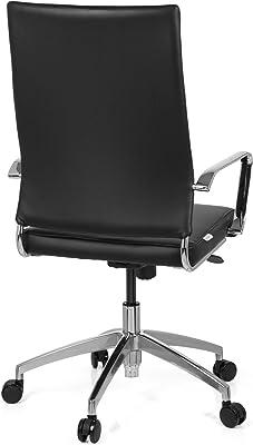 hjh OFFICE – Silla de Oficina pontera Pro Piel Sintética Negro, Respaldo Alto, reposabrazos