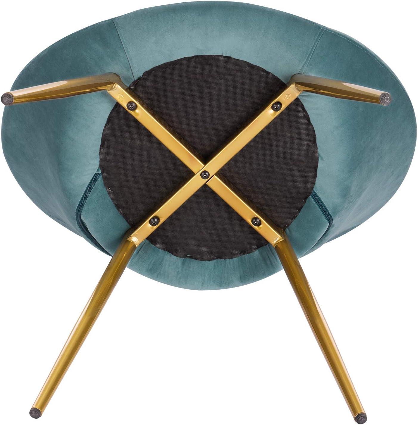 WOLTU 1 X Chaise de Salle à Manger Chaise de Loisirs en Velours et métal,Rose BH230rs-1 Turquoise