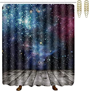 MAHENSHANGM Galaxy View from Rustic Wooden Deck Bathroom Shower Curtain Waterproof Decor Set with 12 Golden Hooks Rings 60 X 70 Inch
