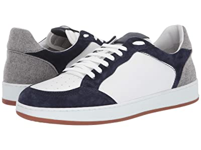 eleventy Leather Sneaker with Suede Contrast (Blue) Men