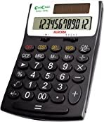 Aurora Ecocalc Ec505 12-Digit Desktop Calculator - Black