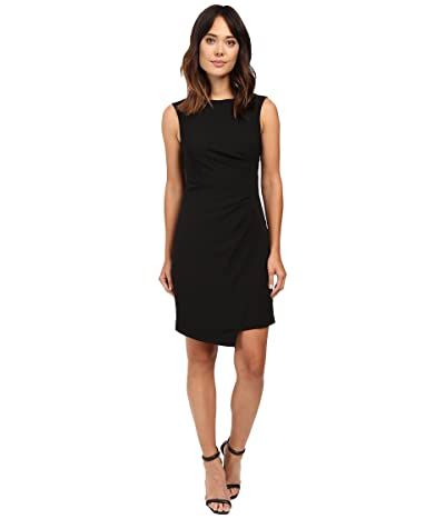 Adrianna Papell Scissor Hem Side Drape Dress (Black) Women
