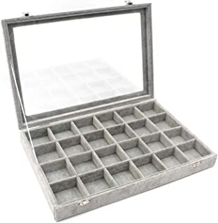 KLOUD City Jewelry Box Organizer Display Storage case(Gray-24 Grid)