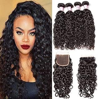 Beauty Forever Brazilian Water Wave Human Hair Bundles With Closure 7A Grade 100% Brazilian Virgin Hair 3 Bundles With Lace Closure Free Part Natural Color (16 18 20 &Closure 14)