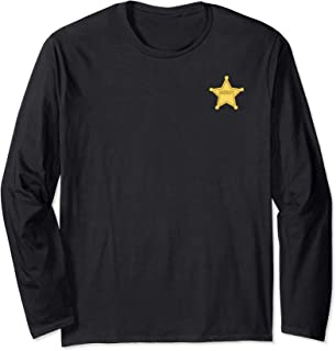 Disney Pixar Toy Story Woody Gold Sheriff Badge Manche Longue