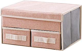 2 PCS Boîtes de Rangement avec Couvercles Pliable avec Poignée et Tiroirs, Organisateur de Panier de Rangement Bacs de Ran...