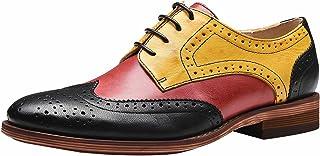 SimpleC Perforé Chaussures de Bureau Contrastées à Lacets Wingtip Derbies Multicolor Oxford