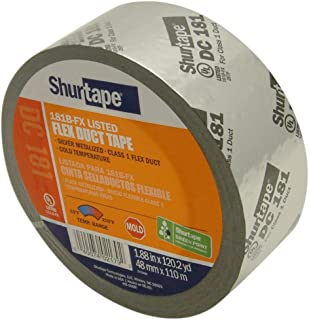 Shurtape DC-181 UL 181B-FX Listed Film Tape: 2 in. x 120 yds. (Metalized Silver with Black Printing)
