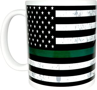 The Thin Green Line Flag Coffee Mug USA Novelty Support Federal Law Enforcement Military Veteran