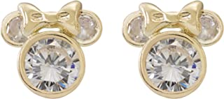 Jewelry Mickey or Minnie Mouse 10k Yellow Gold Cubic Zirconia Stud Earrings