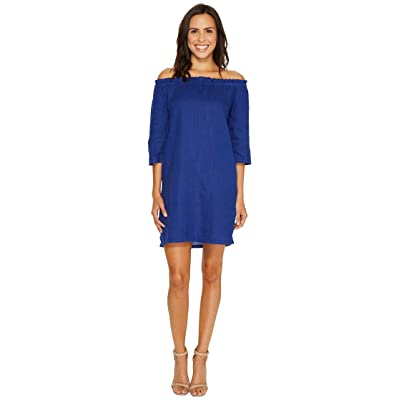 Allen Allen Ruffle Edge Linen Dress (New Blue) Women