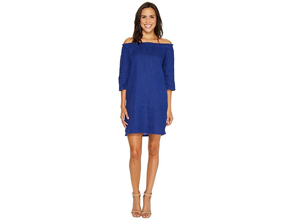 Allen Allen Ruffle Edge Linen Dress (New Blue) Women