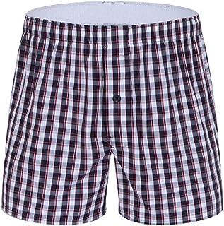 waitFOR Men Summer Plaid Print Beach Sports Shorts Wide Leg Half Pants Elastic Waist Swimming Trunks Cotton Loose Tracksui...