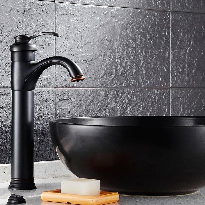 MNLMJ Moderne kupferne heie und kalte Wasserhhne KüchenarmaturKupfer schwarz Bronze Becken heiem und kaltem Wasser Mischer über Single-Lift Heben Einlochmontage schnelles ffnen Becken Wasserhahn