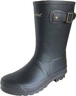 [アマート] 長靴 雨靴 レインシューズ 通学 4色 ボーイズ ガールズ (19.0 cm, ブラック)