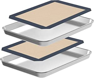 4 Pcs Baking Sheets with Silicone Mats [2 Sheets + 2 Mats], CEKEE Nonstick Cookie Sheet Pan Baking Mats Set, Stainless Steel Toaster Tray for Cooking Baking, Size10 x 8 x 1 Inch, Non Toxic & Oven-Safe