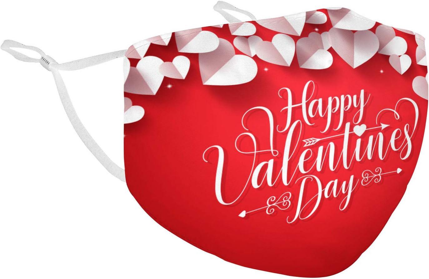 1PCS Valentine's Day Face Bandana Cotton Face Balacavas- Unisex Cute Heart Neck Gaiter- Reusable Dustproof Face Balacavas for Outdoor Activities