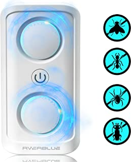 Rverblue Ultrasonic Pest Repeller (2019 Edition) Advanced Dual Speaker Bug Control   Indoor Plug-In Repels Mice, Spiders, Mosquitos, Roaches, Rats   Child and Pet Safe