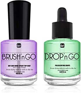 duri Top Coat and Nail Polish Drying Combo, Brush'n GO Dry & Shine Speedy Top Coat 0.61 fl.oz, Drop'n Go Nail Polish Drying Drops 0.61 fl.oz.