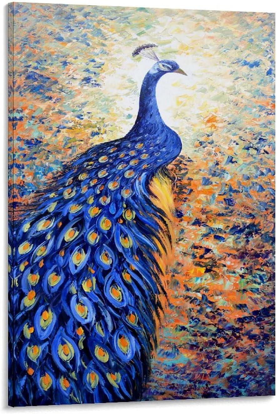 Award ZHUOZI Blue Reservation Gorgeous Peacock Wall Paintin Decoration Art Hanging