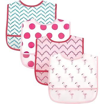 Luvable Friends, 4 baberos impermeables, unitalla,Flamingos