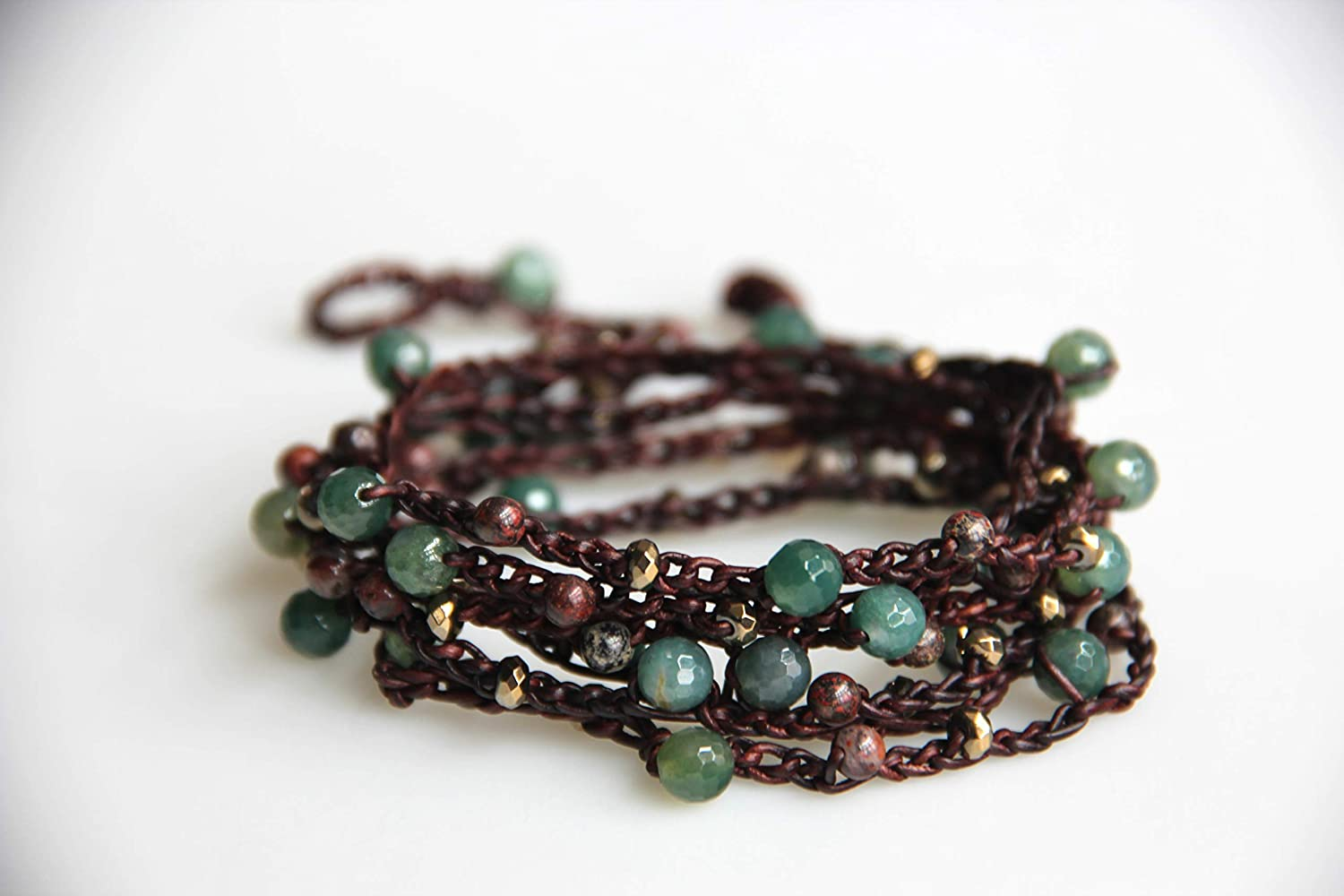 Inventory cleanup selling sale free Moss Agate Leather Bracelet Wrap