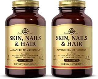 Solgar Skin, Nails & Hair, Advanced MSM Formula, 120 Tablets - 2 Pack - Supports Collagen for Hair, Nail & Skin Health - P...