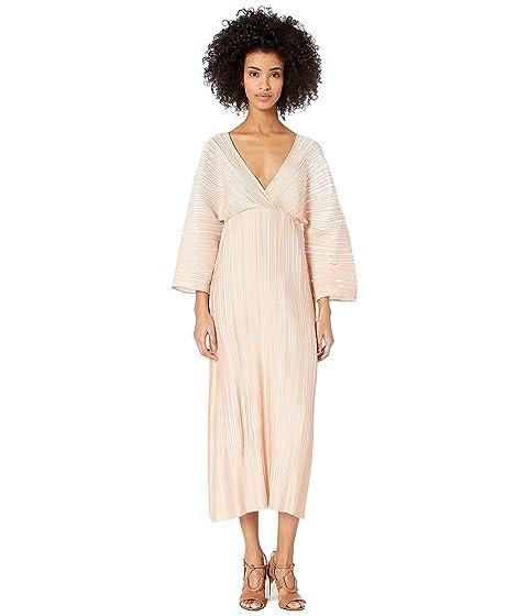 YIGAL AZROUËL Origami Pleated Short Sleeve Long Dress