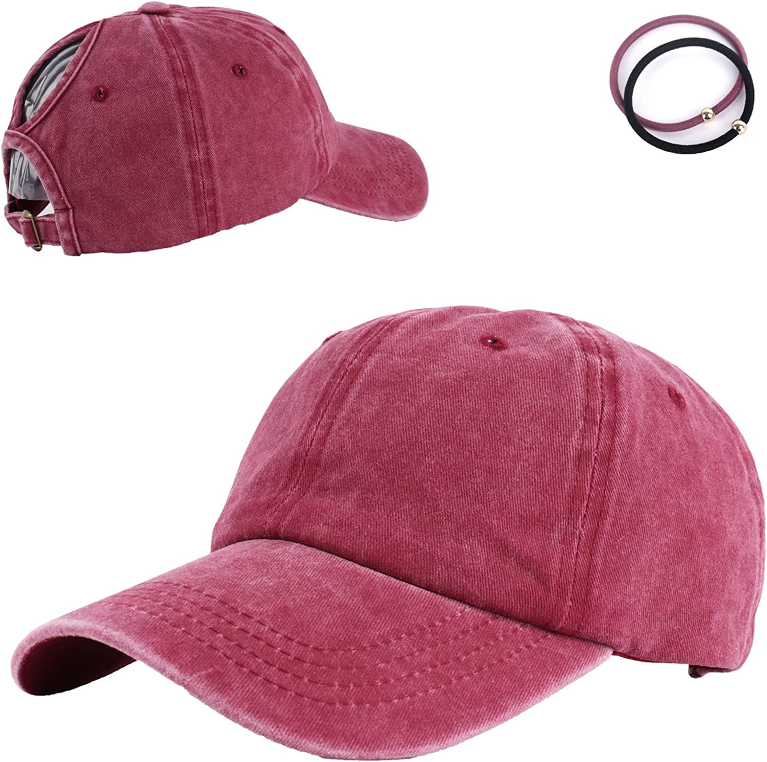 Mikaboo Women Washed Cotton High Ponytail Baseball Cap,Adjustable Sunhat Trucker Caps Dad Hats