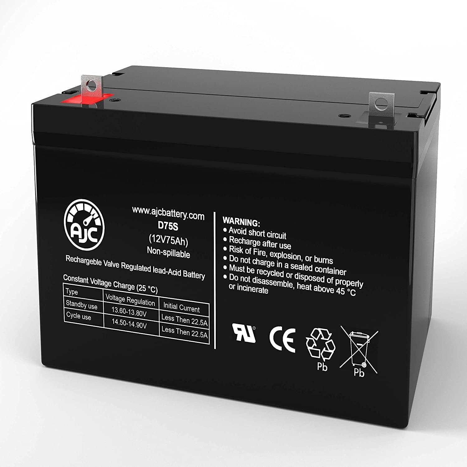 AJC Battery Compatible with AJC Battery Brand for Werker WKA12-80C 12V 75Ah UPS Battery