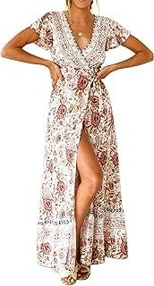 HOYMN Women Floral Printed Maxi Dresses Summer Bohemian Long Wrap V Neck Short Sleeve Split Beach Dress