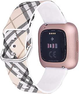 CAGOS Compatible Fitbit Versa 2/Versa/Versa Lite/Versa SE Bands Women, Waterproof Silicone Pattern Printed Versa 2 Bands Girl Sport Replacement Wristbands for Fitbit Versa 2 Smartwatch -Plaid