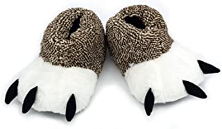 Ibeauti Unisex Polar Bear Paw Slippers Boots Plush Furry Animal Paw House Slippers for Couples