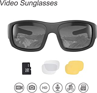 OhO Video Sunglasses,32GB 1080 HD Video Recording Camera for 1.5 Hours Video Recording Time with Built in 15MP Camera and Polarized UV400 Protection Safety and Interchangeable Lens