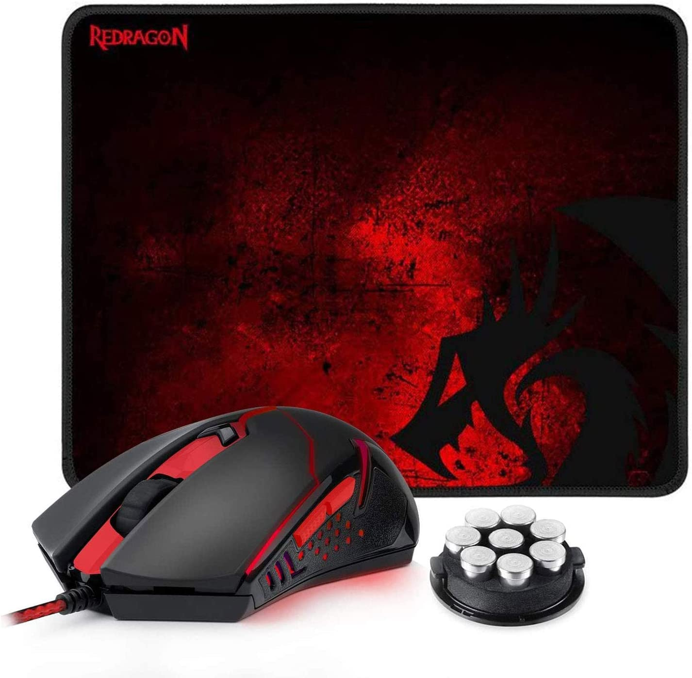 Redragon M601-BA Gaming Mouse and Mouse Pad Combo, Ergonomic Wired MMO 6 Button Mouse, 3200 DPI, Red LED Backlit & Large Mouse Pad for Windows PC Gamer (Black Wired Mouse & Mousepad Set)