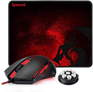 Redragon M601-BA Gaming Mouse and Mouse Pad Combo, Ergonomic Wired MMO 6 Button Mouse, 3200 DPI, Red LED Backlit & Large M...