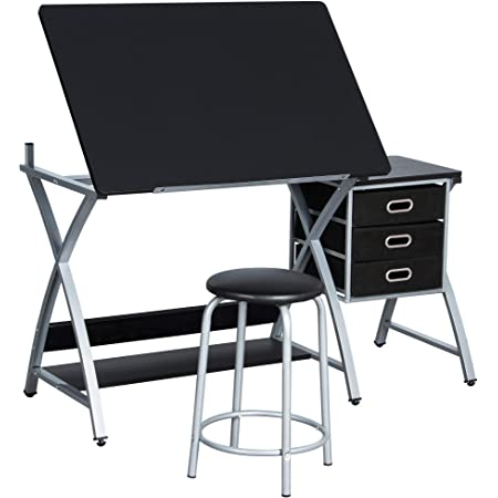 Yaheetech Art Drawing Desk With Adjustable Height Tiltable Tabletop Drafting Board Craft Table With Storage Drawers And Stool Studying Table Amazon Co Uk Office Products