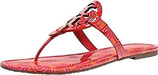 Tory Burch Miller Sandals, Vivid Orange Octagon Square