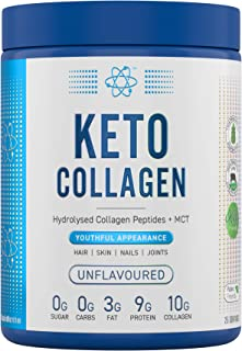 Applied Nutrition Keto Collagen Protein Powder, Hydrolysed Collagen Peptides + MCT Healthy Fats, Ketogenic & Paleo Diet, Z...