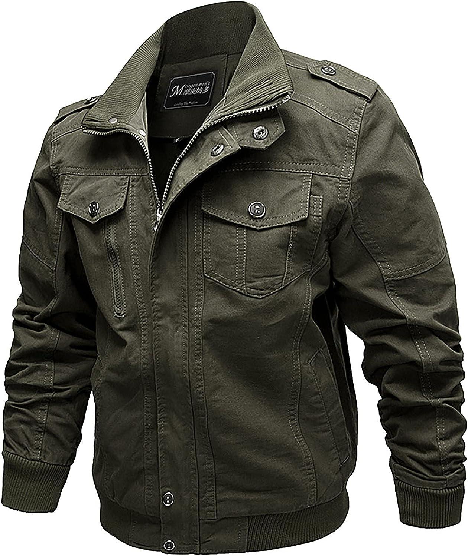 Men's Jackets Windbreaker Autumn And Winter Casual Solid Color Tooling Wind Zipper Coat Military Bomber Jackets Coat
