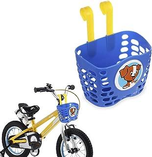 Mini-Factory Kid's Bike Basket, Cute Cartoon Pattern Bicycle Handlebar Basket for Boy (Blue)