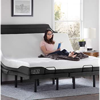 Amazon Com Lucid L300 Adjustable Bed Base With Lucid 10 Inch Memory Foam Hybrid Mattress King Kitchen Dining