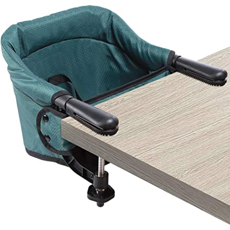 Hook On High Chair, Clip on Table Chair w/Fold-Flat Storage Feeding Seat -Attach to Fast Table Chair for Home or Travel(Dark Green)