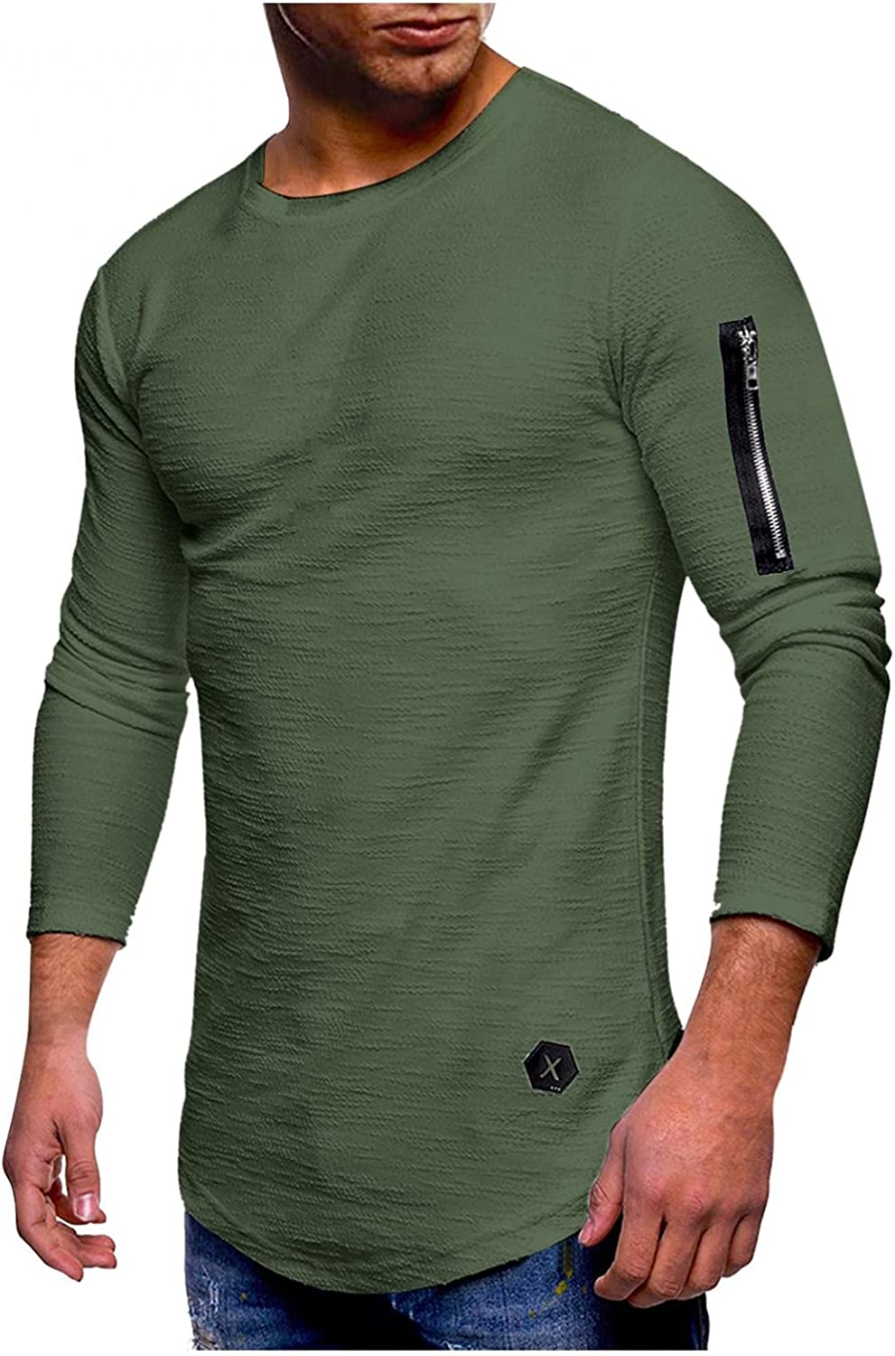 FUNEY Mens Crewneck Long Sleeve Zipper Pocket T-Shirts Muscle Fitted Solid Color Casual Workout Slim Cotton Pullover Top